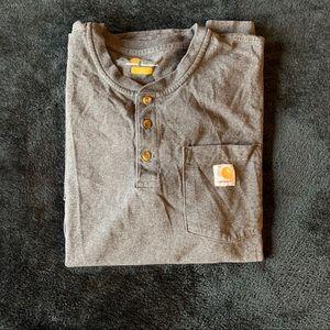 Men's dark heather gray long sleeve Carhartt shirt